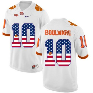 2017 US Flag Fashion Male Clemson Tigers Ben Boulware White College Football Limited Jersey