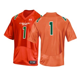 #1 Male Colorado State Rams Orange College Football Throwback Jersey