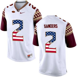 2017 US Flag Fashion Male Florida State Seminoles Deion Sanders White College Football Limited Jersey