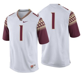 #1 Male Florida State Seminoles White College Football Game Jersey