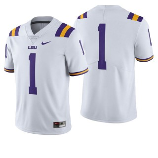 #1 Male LSU Tigers White College Football Game Jersey
