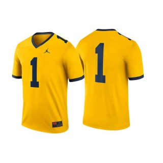 #1 Male Michigan Wolverines Maize College Football Game Performance Jersey