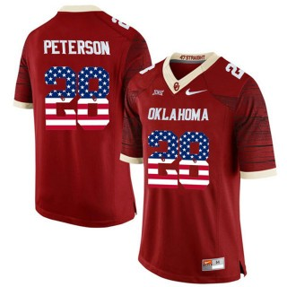 2017 US Flag Fashion Male Oklahoma Sooners Adrian Peterson Crinson College Football Limited Jersey