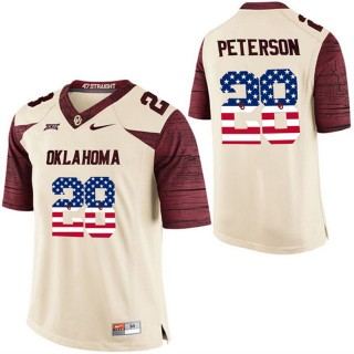 2017 US Flag Fashion Male Oklahoma Sooners Adrian Peterson White College Football Limited Jersey