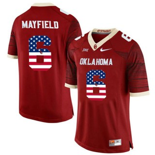 2017 US Flag Fashion Male Oklahoma Sooners Baker Mayfield Crimson College Football Limited Jersey