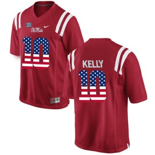 2017 US Flag Fashion Male Ole Miss Rebels Chad Kelly Red College Football Limited Jersey
