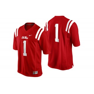 #1 Male Ole Miss Rebels Cardinal College Football Game Performance Jersey