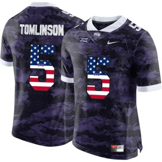 2017 US Flag Fashion Male TCU Horned Frogs LaDainian Tomlinson Purple College Football Limited Jersey
