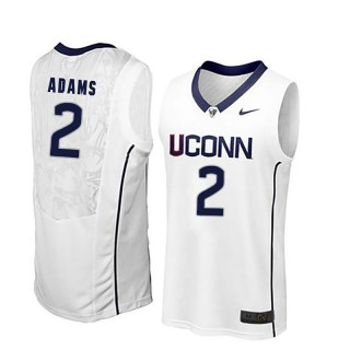 Male Jalen Adams UConn Huskies White NCAA Basketball Player Name And Number Jersey