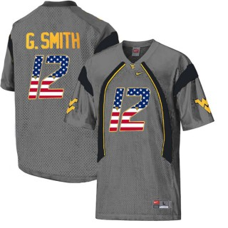 2017 US Flag Fashion Male West Virginia Mountaineers Geno Smith Gray College Football Limited Jersey