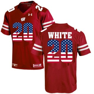 2017 US Flag Fashion Male Wisconsin Badgers James White Maroon College Football Limited Jersey