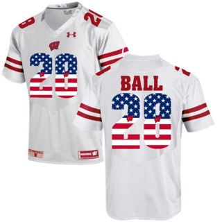 2017 US Flag Fashion Male Wisconsin Badgers Montee Ball White College Football Limited Jersey