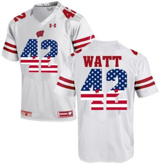 2017 US Flag Fashion Male Wisconsin Badgers T.J Watt White College Football Limited Jersey