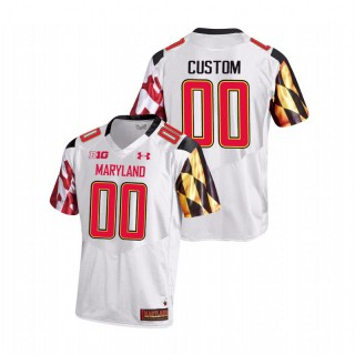 Custom Maryland Terrapins College Football White Game Jersey