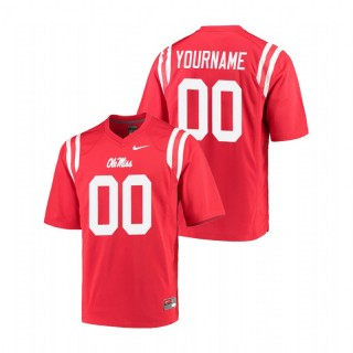 Custom Ole Miss Rebels College Football Red Game Jersey