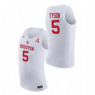 Houston Cougars Cameron Tyson Home 2021 March Madness Jersey White Men